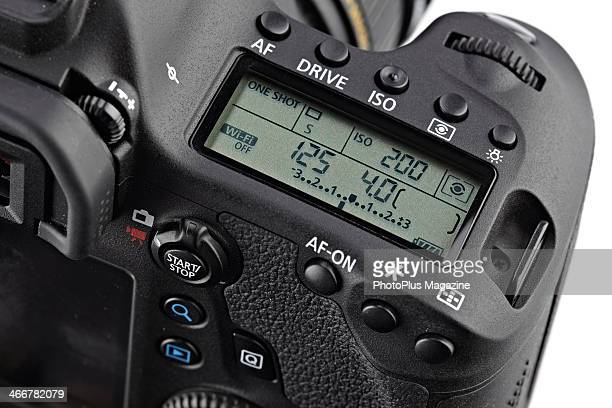 Detail of the top LCD on a Canon EOS 6D DSLR camera taken on May 15 2013