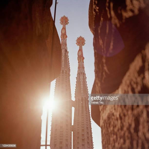 Detail of the towers of La Sagrada Familia, Barcelona, Spain
