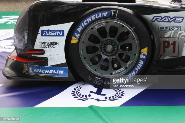 Detail of the Toyota Gazoo Racing TS050 Hybrid car of Fernando Alonso Kazuki Nakajima and Sebastien Buemi as Toyota win for the first time at the Le...