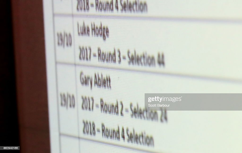 A detail of the trades of Luke Hodge and Gary Ablett on a large screen in the media room during the AFL Draft Period at Etihad Stadium on October 19, 2017 in Melbourne, Australia.