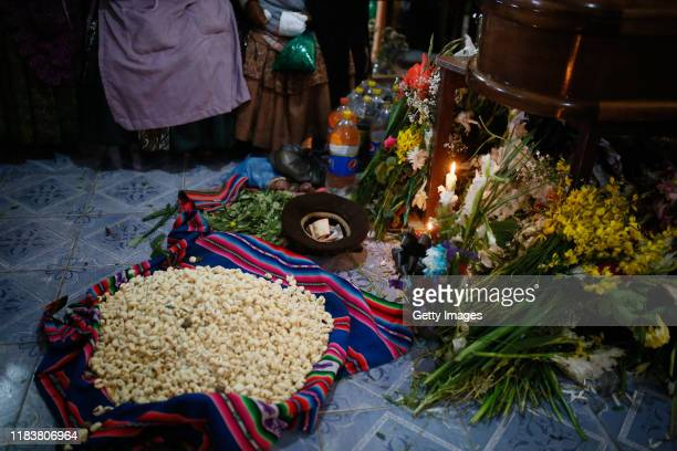 Detail of the traditional tributes during the funeral ceremony of Antonio Ronaldo Quispe Ticona who was killed during clashes with police at the...