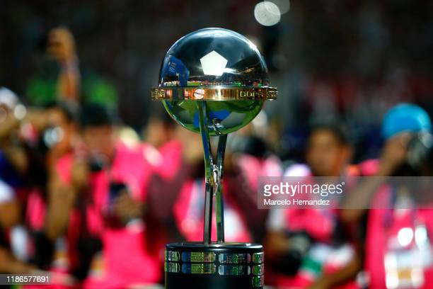Detail of the trophy prior to the final of Copa CONMEBOL Sudamericana 2019 between Colon and Independiente del Valle at Estadio General Pablo Rojas...