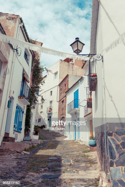 detail of the typical stone street of cadaques. costa brava, spain - cadaques stock pictures, royalty-free photos & images
