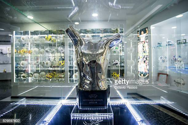Detail of the UEFA Best Player in Europe 2013/14 trophy at the gallery of trophies of the Portuguese footballer Cristiano Ronaldo on May 9 2016 in...