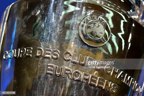 Detail of the UEFA Champions League trophy is seen as it is prepared for the UEFA 2014/15 Champions League third qualifying rounds draw at the UEFA...
