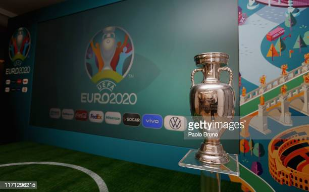 Detail of the UEFA Euro 2020 trophy during the UEFA Euro 2020 sponsor workshop at Cavalieri Hotel on September 26, 2019 in Rome, Italy.