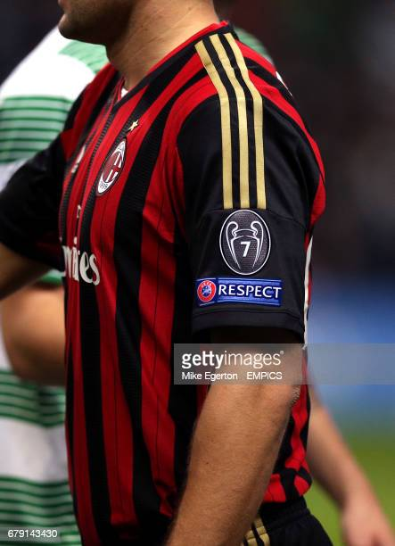 Detail of the UEFA Respect logo and seven time winners crest on the sleeve of an AC Milan kit