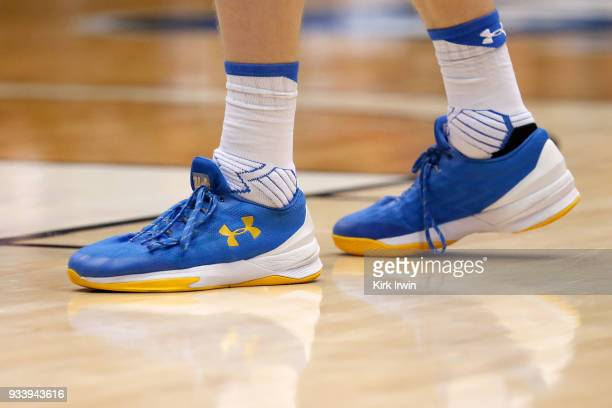 Detail of the Under Armour shoes worn by Thomas Welsh of the UCLA Bruins during the game against the St. Bonaventure Bonniesat UD Arena on March 13,...