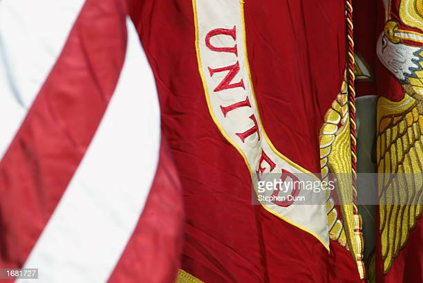 Detail of the United States and Marine Corps flags before the Pac10 Conference football game between the USC Trojans and the Washington Huskies at...