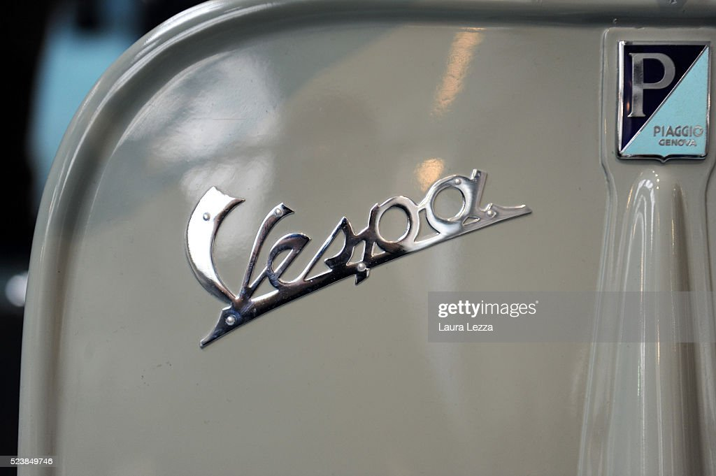 A detail of the very first model of Vespa appeared in 1946 is displayed during the celebration of 70 years of the Vespa scooter in the Piaggio museum on April 24, 2016 in Pontedera, Italy. Vespa was born on April 23, 1946 following the end of World War II and is considered the world's best-selling scooter and one of the brands of Italian excellence