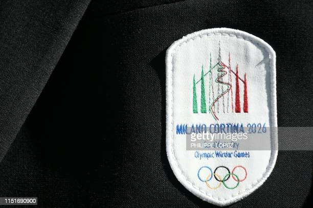 Detail of the vest patch of an Italian delegation member taken at the start of the 134th session of the International Olympic Committee held to...