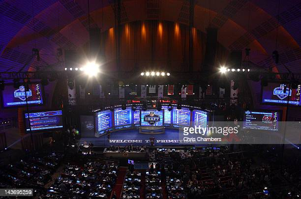 A detail of the video board and stage during the 2012 NFL Draft at Radio City Music Hall on April 26 2012 in New York City