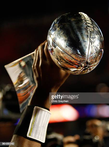 A detail of the Vince Lombardi Trophy as the New Orleans Saints celebrate after defeating the Indianapolis Colts during Super Bowl XLIV on February 7...