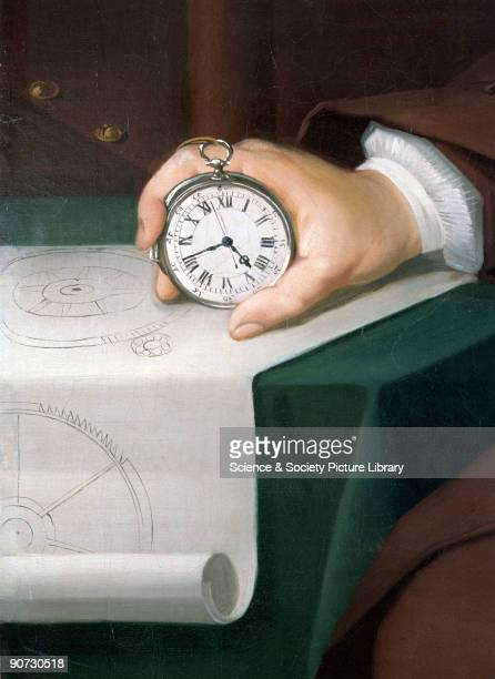 Detail of the watch and drawing from an oil painting by Thomas King of John Harrison with the marine chronometer which he invented Harrison became...