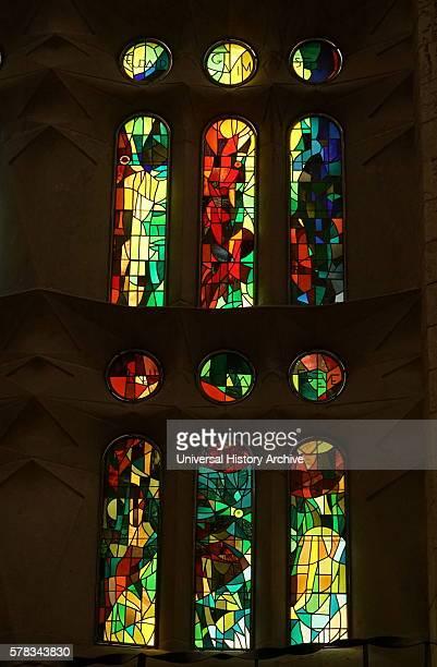 Detail of the 'Water of Life' window at the Basilica i Temple Expiatori de la Sagrada Familia, a Roman Catholic church in Barcelona, designed by...