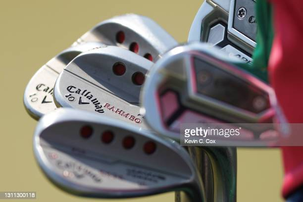 Detail of the wedges of Jon Rahm of Spain during a practice round prior to the Masters at Augusta National Golf Club on April 07, 2021 in Augusta,...