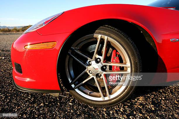 A detail of the wheel of the Chevrolet Corvette Z06 is photographed in Bouse Arizona Saturday Feb 17 2007