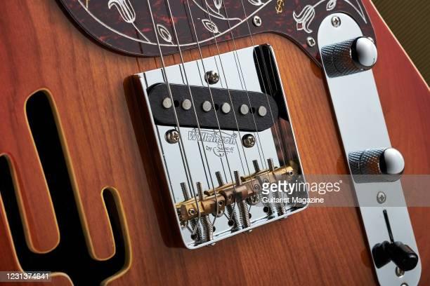 Detail of the Wilkinson WTB bridge on a Joe Doe By Vintage Lucky Buck electric guitar, taken on July 17, 2020.