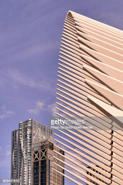 detail of the wings of the one world trade centre transportation hub by santiago calatrava in manhattan, new york, usa - victor ovies fotografías e imágenes de stock