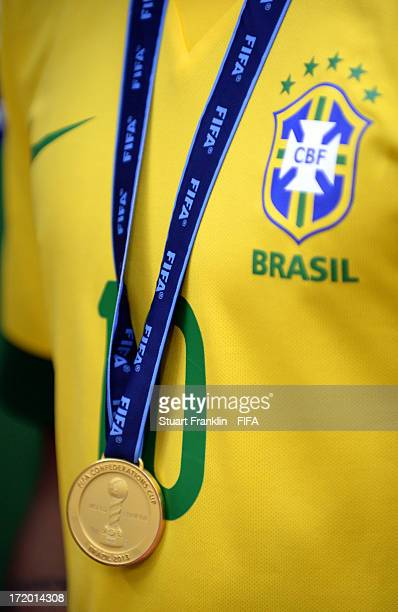 Detail of the winners medal of Neymar of Brazil during the FIFA Confederations Cup Brazil 2013 Final match between Brazil and Spain at Maracana on...