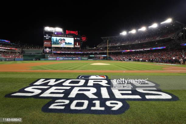 A detail of the World Series logo prior to Game Three of the 2019 World Series between the Houston Astros and the Washington Nationals at Nationals...