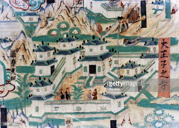 Detail of the Wutai Mountain Map a mural painting done during the Five Dynasties in the Dunhuang Grottoes depicting a monastery
