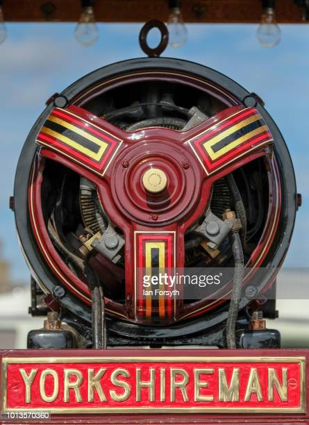 Detail of the Yorkshireman steam engine as it is displayed during the final day of the Whitby Traction Engine Rally on August 5, 2018 in Whitby,...
