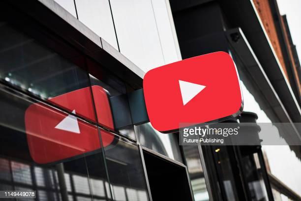 Detail of the YouTube logo outside the YouTube Space studios in London, taken on June 4, 2019.