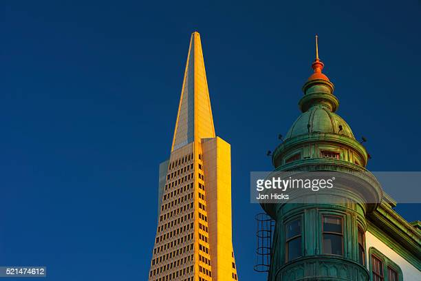 Detail of the Zoetrope Building and Transamerica Pyramid.