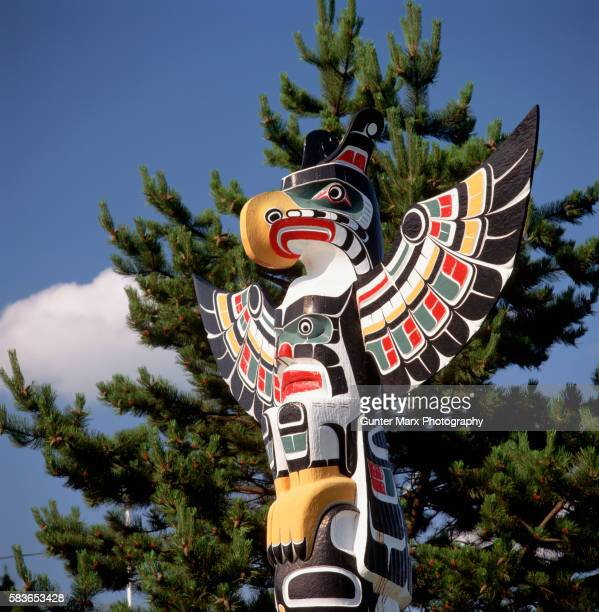 Detail of Thunderbird and Killer Whale Totem Pole by Harold Alfred