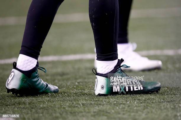 A detail of TJ Watt of the Pittsburgh Steelers cleats prior to the game against the Cincinnati Bengals at Paul Brown Stadium on December 4 2017 in...