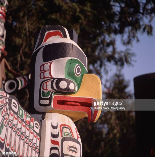 Detail of totem pole at Stanley Park