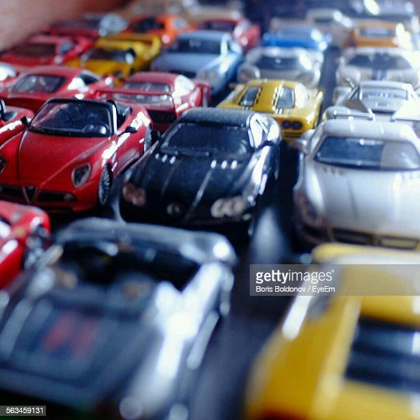 Detail Of Toy Cars Arranged In Row
