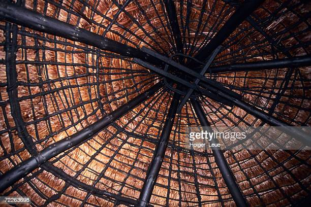 Detail of traditional hut ceiling, Luengoni, New Caledonia