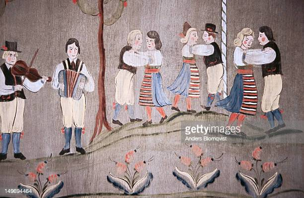 Detail of traditional painting of Midsummer celebrations in Gammelgarden open-air museum.