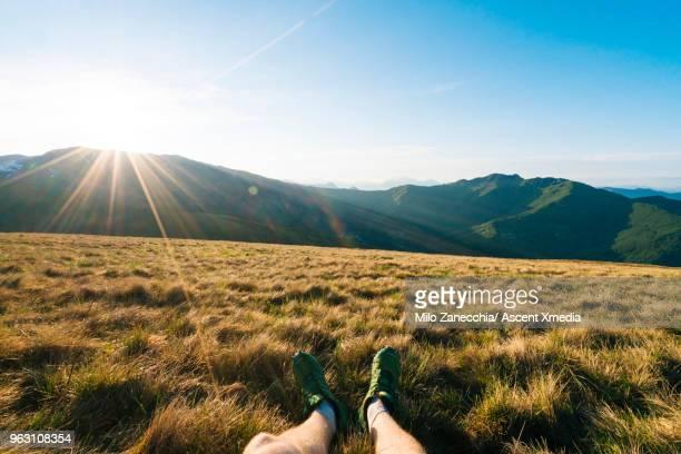 detail of trail runner's legs in meadow - unterer teil stock-fotos und bilder