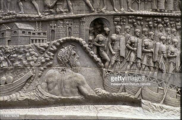 Detail of Trajan's Column in Rome showing the river god Danubius and the town of Turnu Severin