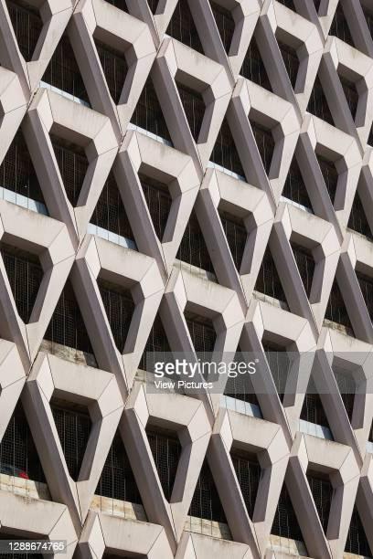 Detail of triangular precast concrete units. Welbeck Street Car Park, London, United Kingdom. Architect: Michael Blampied and Partners, 1070.
