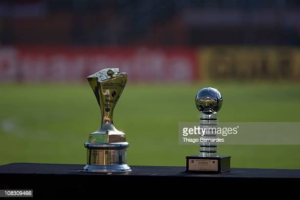 Detail of trophies prior to a match between Bahia and Flamengo as part of the Sao Paulo Juniors Cup 2011 at Pacaembu stadium on January 25 2011 in...