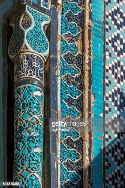 Detail of turquoise tiles at Shah Zinda necropolis Samarkand, Uzbekistan.