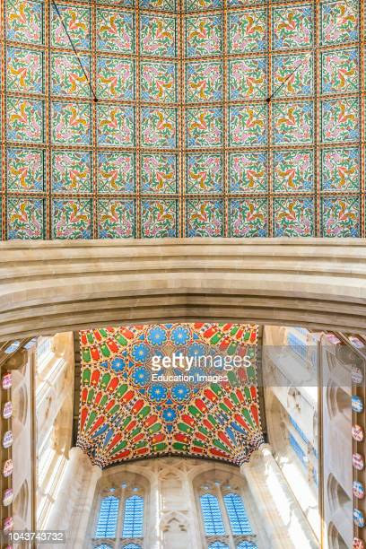Detail of two levels of ceiling including the new ceiling for tower of St Edmundsbury Cathedral Bury St Edmunds Suffolk East Anglia England UK