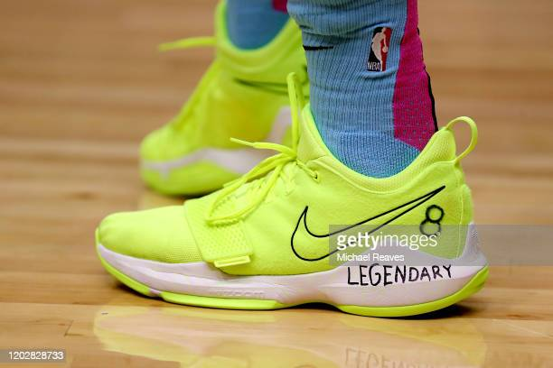 Detail of Tyler Herro of the Miami Heat shoes honoring Kobe Bryant against the Boston Celtics during the first half at American Airlines Arena on...