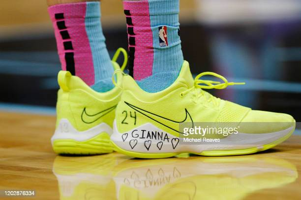 Detail of Tyler Herro of the Miami Heat shoes honoring Kobe Bryant's daughter Gianna Bryant against the Boston Celtics during the first half at...