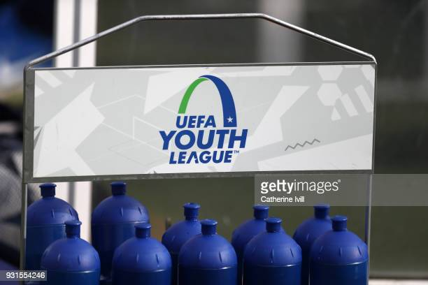 Detail of UEFA Youth League water bottles during the UEFA Youth League group H match between Tottenham Hotspur and FC Porto on March 13 2018 in...