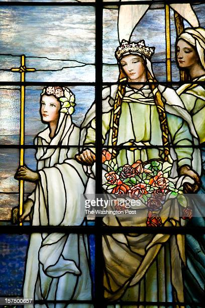 Detail of Una the Faerie Queene on the Left Panel of The Tiffany Stained Glass Windows at the National Red Cross Headquarters on August 8, 2012 in...