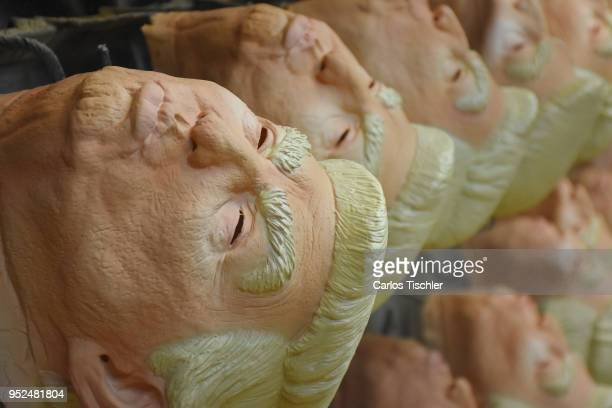 Detail of US President Donald Trump latex mask during the finishing process of latex masks manufacturing at REV Latex Mask factory on April 27 2018...