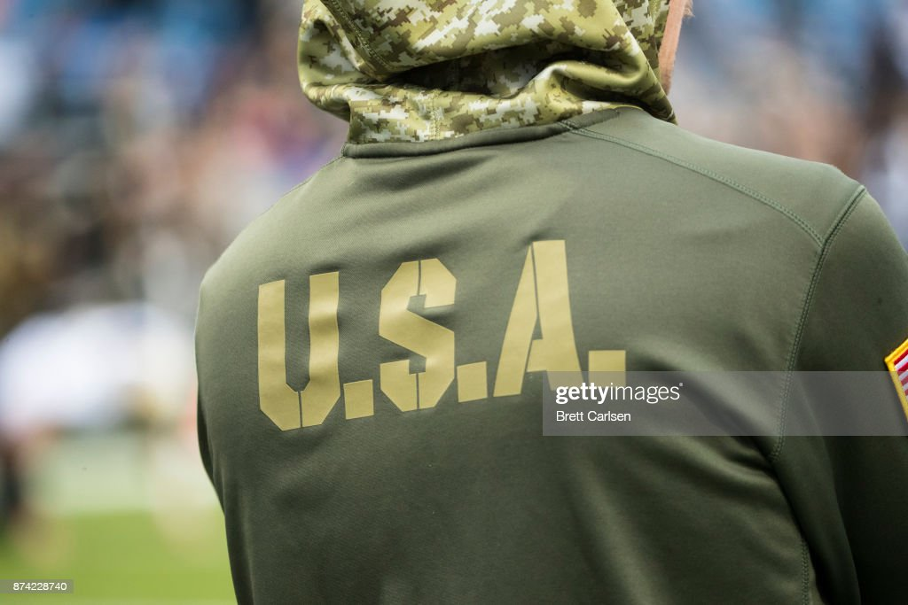 finest selection 8572b 9b660 Detail of U.S.A. on rear of NFL salute to service ...