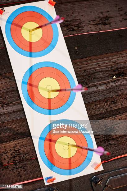 Detail of used targets photographed during the Archery GB 2017 National Indoor Championships at Stoneleigh Park in Warwickshire, on December 2, 2017.