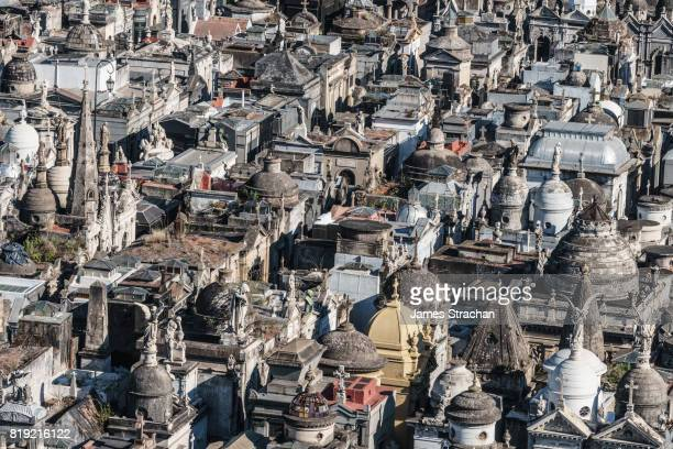 Detail of vaults in La Recoleta Cemetery, considered one of the most beautiful in the world, lies right in the heart of the city, Buenos Aires, Argentina