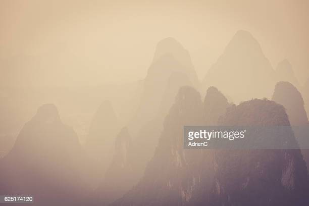 Detail of view on famous Karst in Xingping region in China